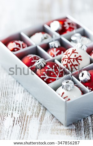 Christmas balls in a box - stock photo