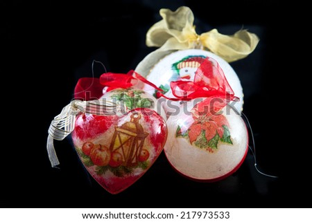 Christmas balls isolated in black background - stock photo