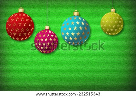 Christmas balls isolated on Paper Textured Background. - stock photo