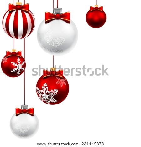 Christmas balls isolated on white background with balls. Set. Illustration.  - stock photo