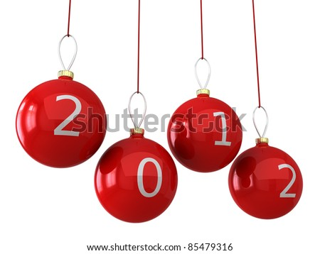Christmas 2012 balls New Years eve baubles colored golden decorated with red date. Calendar design element concept. Traditional luxury Xmas decoration. Detailed 3d render. Isolated on white background - stock photo