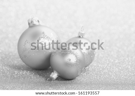 Christmas balls on a beautiful background with shallow depth of field - stock photo