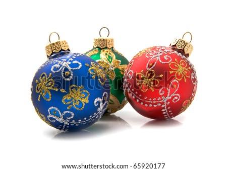 christmas balls on a white background - stock photo