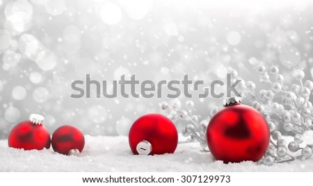 Christmas balls on abstract background - stock photo