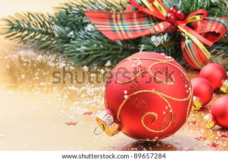 Christmas balls on festive background - stock photo