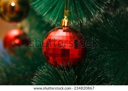 Christmas balls on the Christmas tree - stock photo