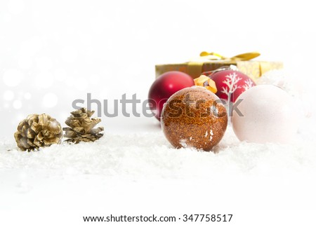 Christmas balls on white background Closeup. Christmas background. - stock photo