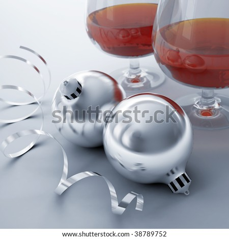 Christmas balls, ribbon and glasses with alcohol drinks - stock photo