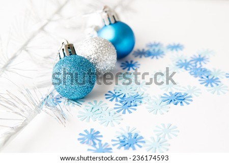 Christmas balls to decorate on a white background. New year. - stock photo