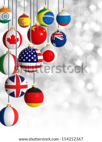 Christmas balls with different flags  - stock photo