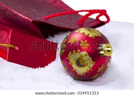 Christmas balls with gift bag - stock photo