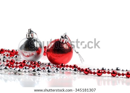 Christmas balls with ornaments on white background.  - stock photo
