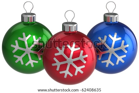 Christmas balls Xmas ball three green red blue. Traditional New Years Eve baubles with snowflake shapes on them. Detailed 3d render. Isolated on white background - stock photo
