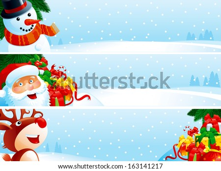 Christmas banner. Banners with Santa Claus, snowman, Red-Nosed Reindeer, branches of fir tree and many gift boxes on winter snow landscape for christmas.   - stock photo