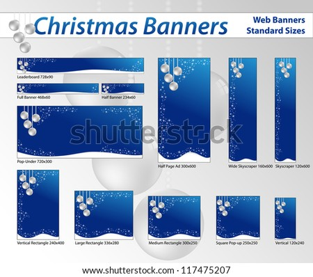 Christmas banners in blue tone, standard sizes. Labels useful - stock photo