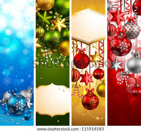 Christmas banners with baubles and place for text. Check my portfolio for vector version. - stock photo