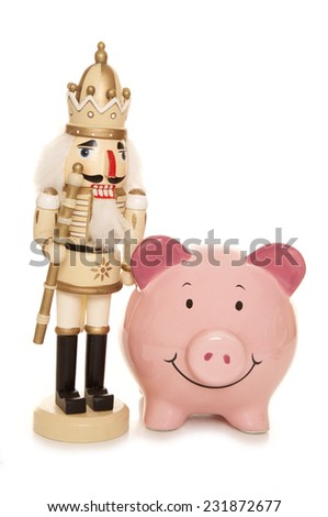 christmas bargains piggy bank cutout - stock photo