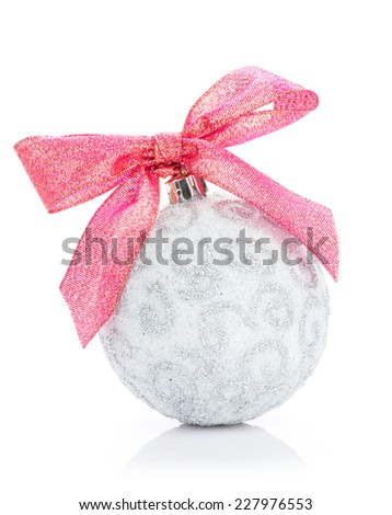Christmas bauble with red ribbon. Isolated on white background - stock photo