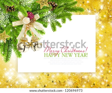 Christmas baubles and branches of spruce are on festive background a postal - stock photo