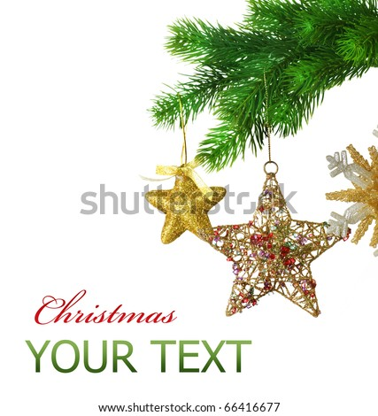 Christmas Baubles.Border design over white - stock photo