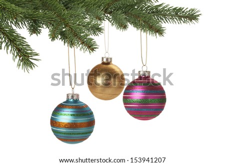 Christmas baubles hanging on Christmas tree for holiday background. With copy space. - stock photo