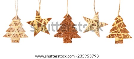 Christmas baubles in shape of Christmas tree and star isolated on a white background    - stock photo