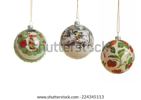 Christmas baubles made by technique decoupage  - stock photo
