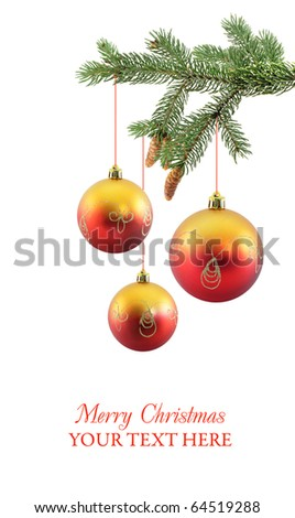 Christmas baubles on christmas tree isolated on white - stock photo