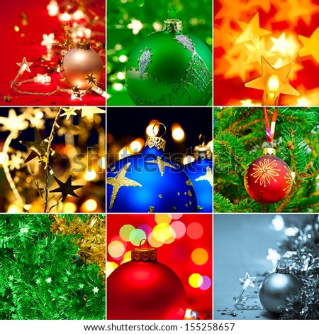 Christmas baubles tinsel and lights collection - stock photo