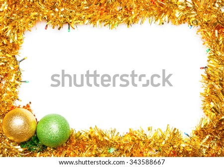 Christmas baubles with lights and tinsel frame on �?�?�?е�? background - stock photo