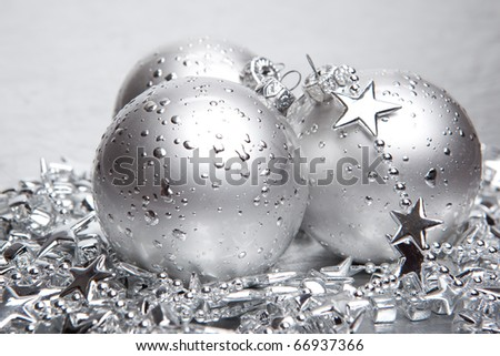 Christmas baubles with silver decoration - stock photo