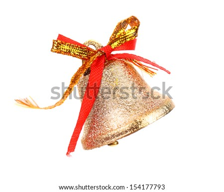 Christmas Bell and bow on a white background - stock photo