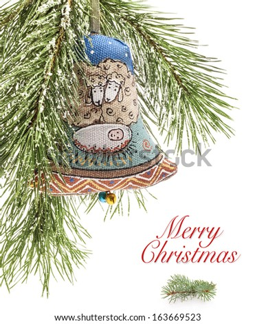 Christmas bell, Handmade decoration, traditional Ukrainian souvenir. Baby Jesus in Bethlehem are represented on this bell - stock photo