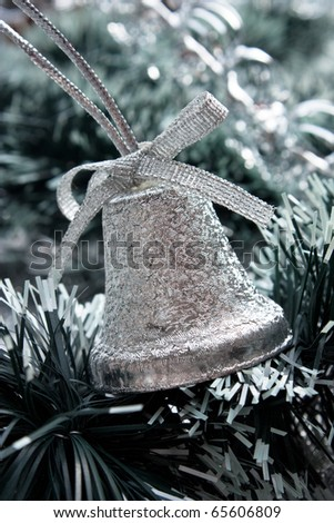 Christmas bell  on Christmas background - stock photo