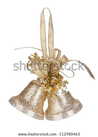 Christmas bells decor. Isolated on white background - stock photo