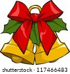 Christmas bells on a white background raster version - stock photo
