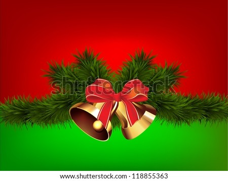 Christmas bells on red green background/Christmas bells - stock photo