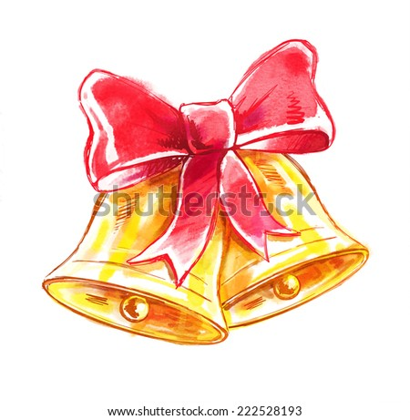 Christmas bells. Watercolor illustration. - stock photo