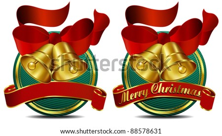 Christmas Bells Web Banner Green - Raster Version - A vector version of this file is also available - stock photo