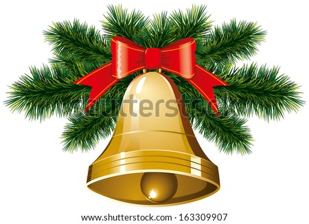 Christmas bells with christmas tree decorations - stock photo
