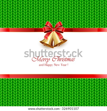 Christmas bells with red bow on green knitted pattern, illustration. - stock photo