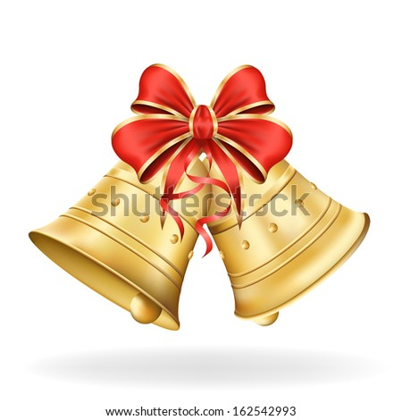 Christmas bells with red bow on white background. Xmas decorations. Raster copy of vector illustration - stock photo