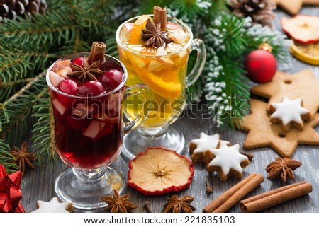 Christmas beverages, biscuits and spices, horizontal, close-up - stock photo