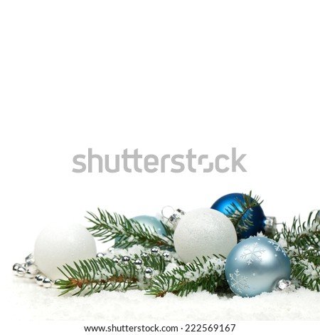 Christmas blue and silver balls, selective focus. - stock photo