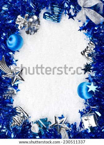 Christmas blue and silver frame - stock photo