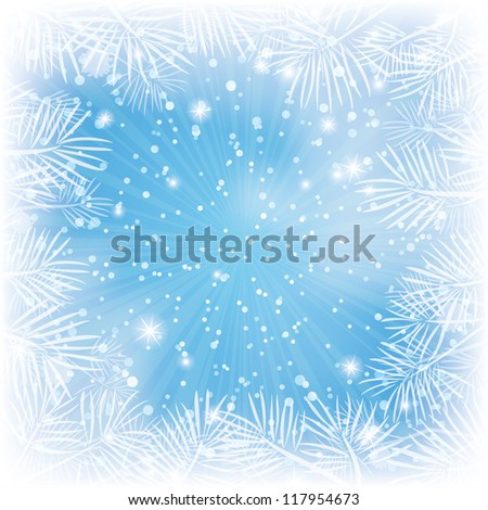 Christmas blue background for holiday design with stars, pine branches and rays - stock photo