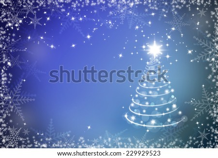 Christmas blue background with snowflakes frame and Christmas tree - stock photo