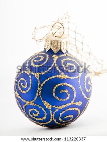 christmas blue ball - stock photo