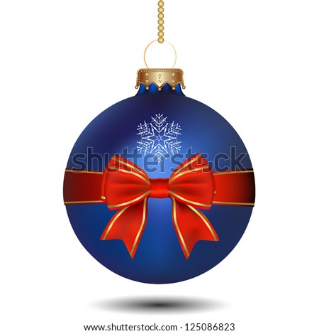 Christmas blue ball with bow. Raster Version. - stock photo