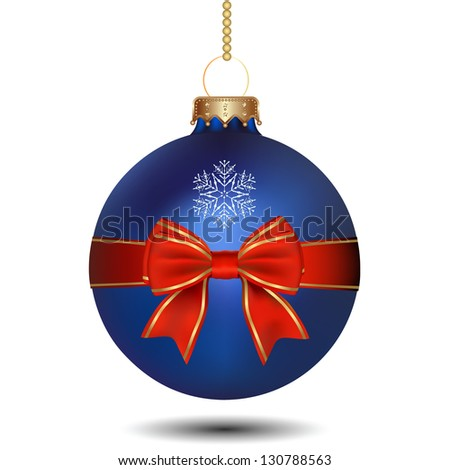 Christmas Blue Ball With Bow. Raster Version - stock photo